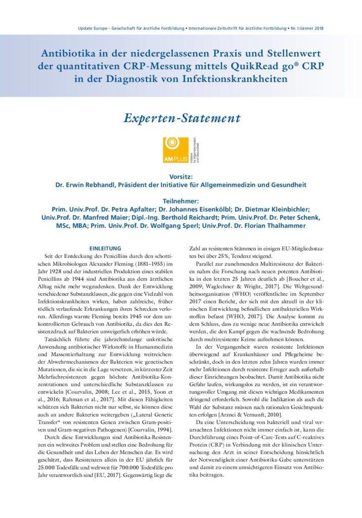 Expertenpapier Antibiotika und CRP-Messung