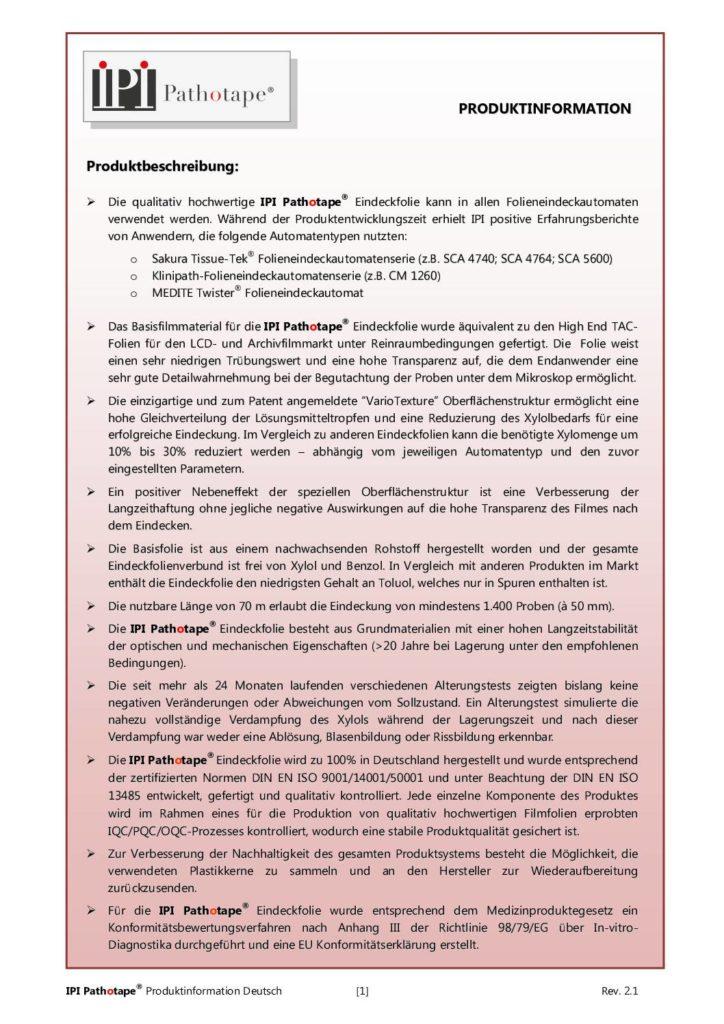 Broschüre IPI Pathotape®