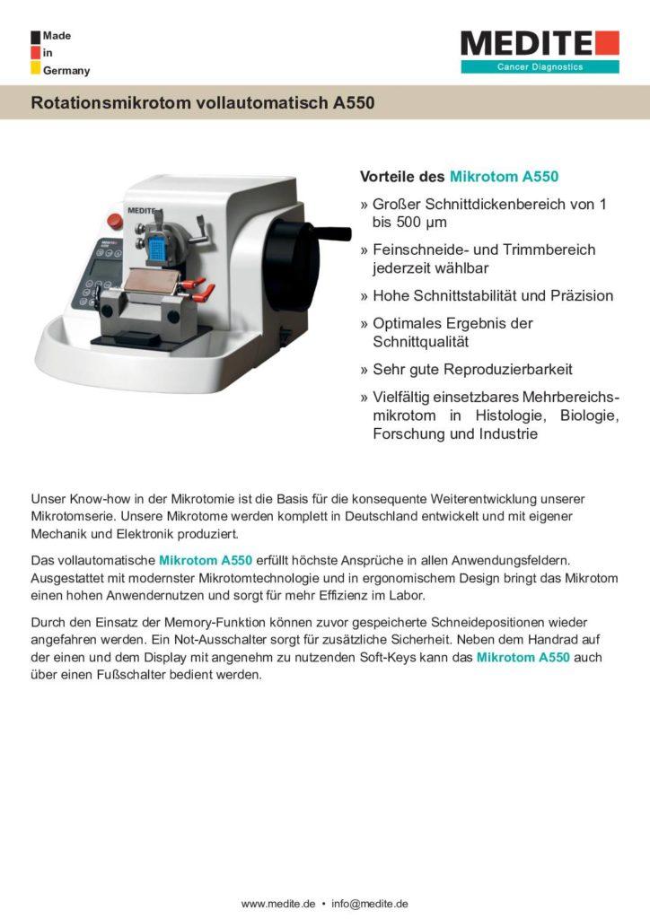 Broschüre Mikrotomie A550