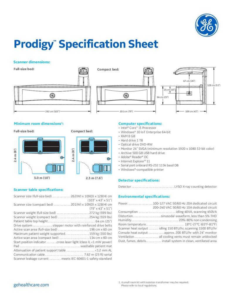 Prodigy Specification Sheet