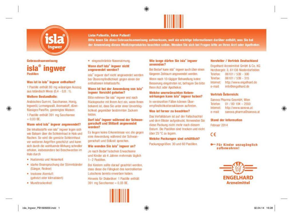 Sanova-Isla-Ingwer-Lutschpastillen-Gebrauchsinformation
