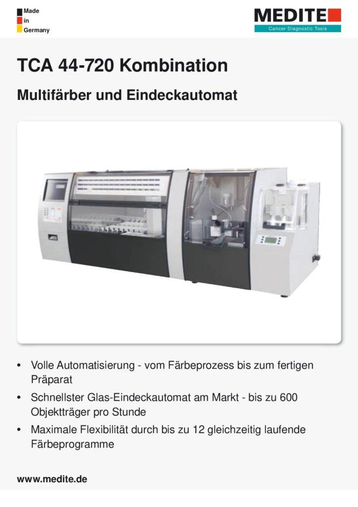 Broschüre TCA 44-720 Kombination Multifärber und Objektträger-Glas-Eindeckautomat