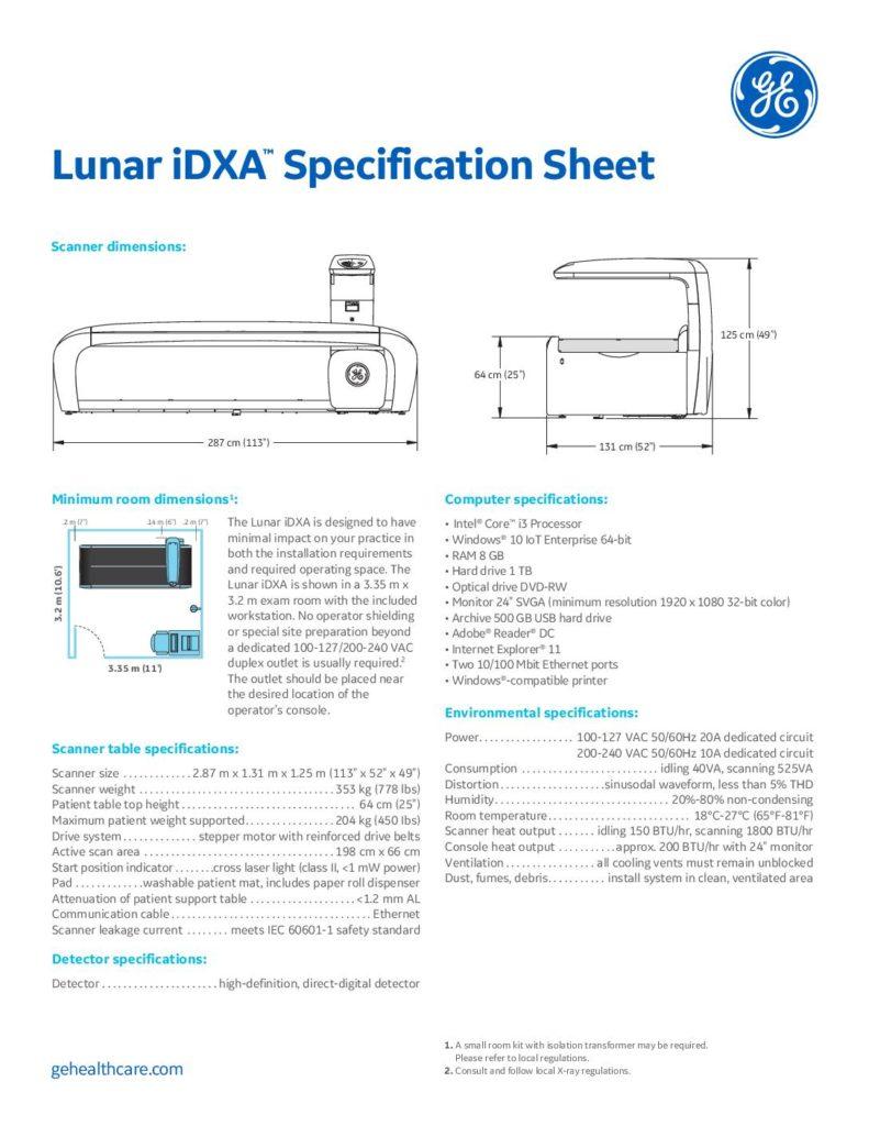 Lunar iDXA Specification Sheet