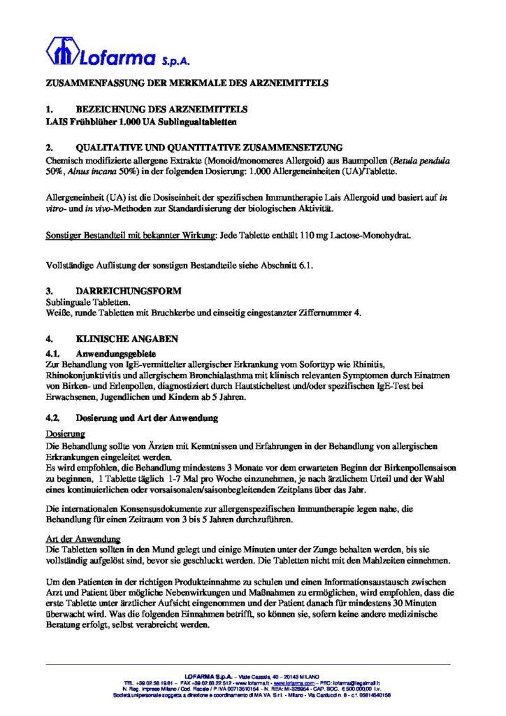 SmPC Lais FrühblüherTabletten 0808